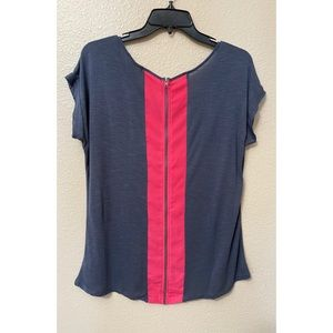 Pleione Zippered High Low Color Block Top